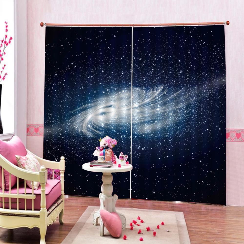 blue stars curtains Customized size Luxury Blackout 3D Window Curtains For Living Room Decoration curtains