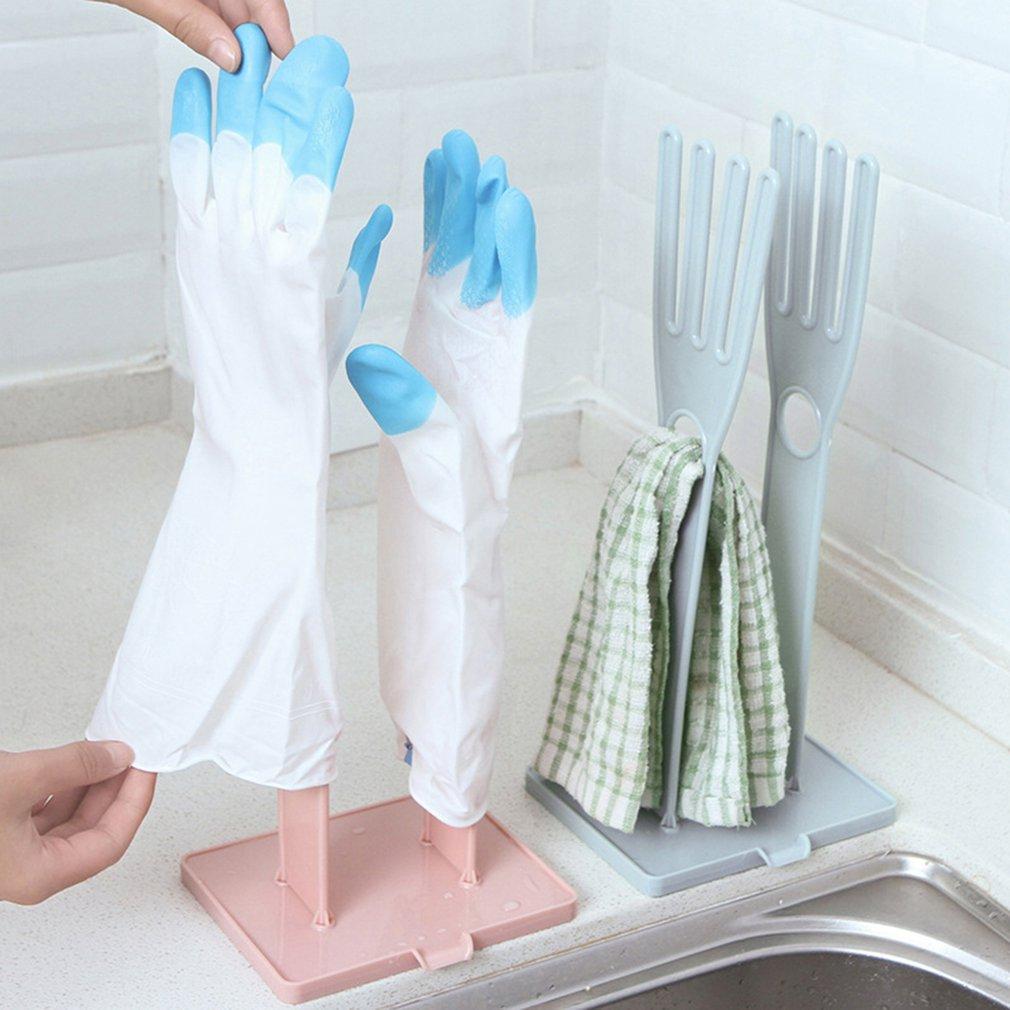 Кухонные многофункциональные резиновые перчатки, вешалка для хранения полотенец, подставка для сушки, Креативные кухонные принадлежности - Цвет: Розовый