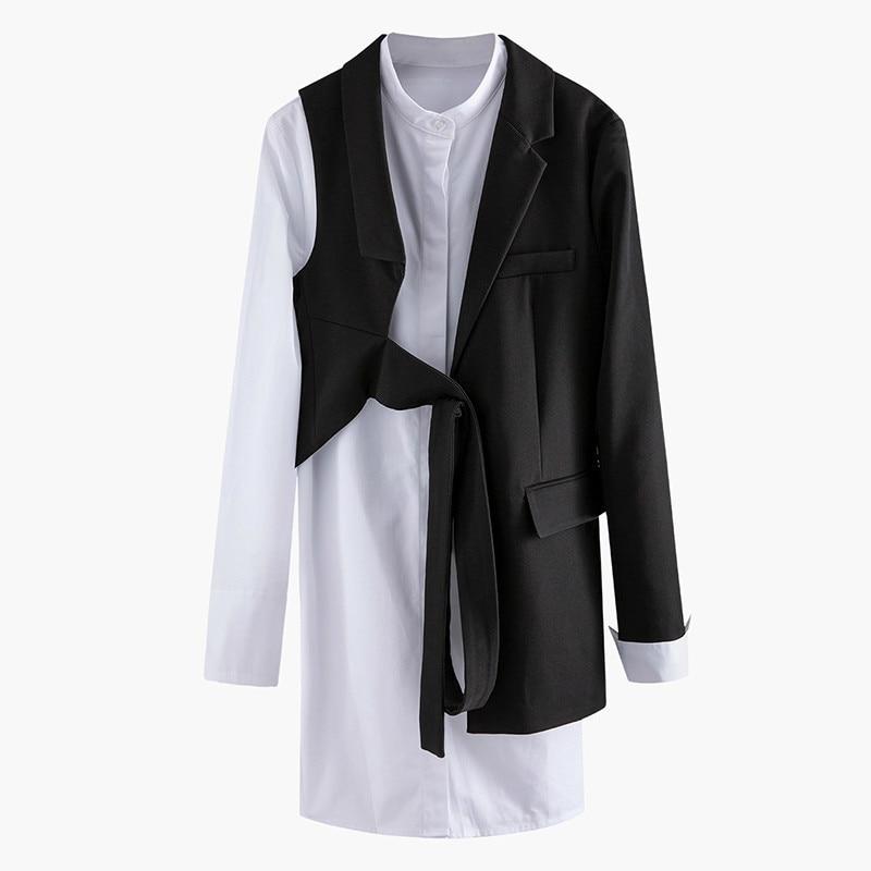 Women Black Asymmetrical Two Piece Blazer New Lapel Long Sleeve Loose Fit  Jacket Fashion Tide Spring Autumn 2020 V528