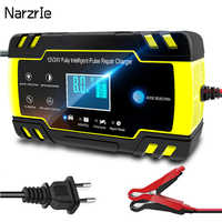 Portable 12V 24V Car Battery Charger Touch Screen Pulse Repair LCD Fast Power Charging Wet Dry Lead Acid Digital LCD Display New