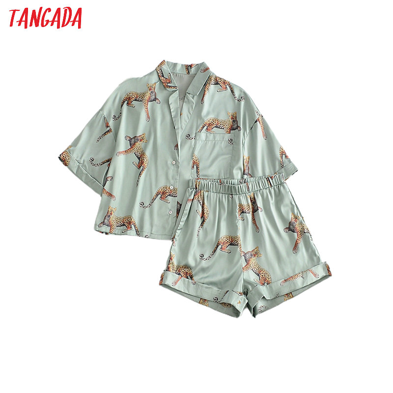 Tangada 2020 women animal print print tops shorts set suit 2 piece set shirt and shorts high quality 3W157 1