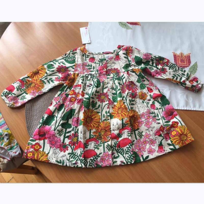 Little maven kids merk 2018 herfst nieuwe ontwerp kinderen jurk baby meisjes kleding Katoen plant print meisje jurken S0364
