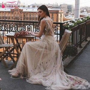 Image 5 - Meticlously vestidos De boda bordados vestidos De novia bohemios De ensueño con espalda descubierta Vestido De novia Chic Abiti da Sposa ZW205