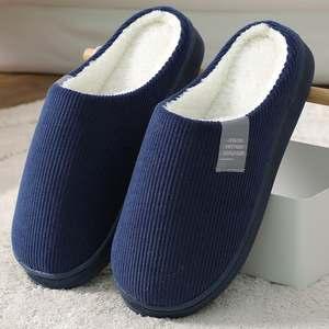 Men's Slipper Slides Men Beadroom Warm Winter Indoor Stripe And Autumn for Cotton Solid-Color