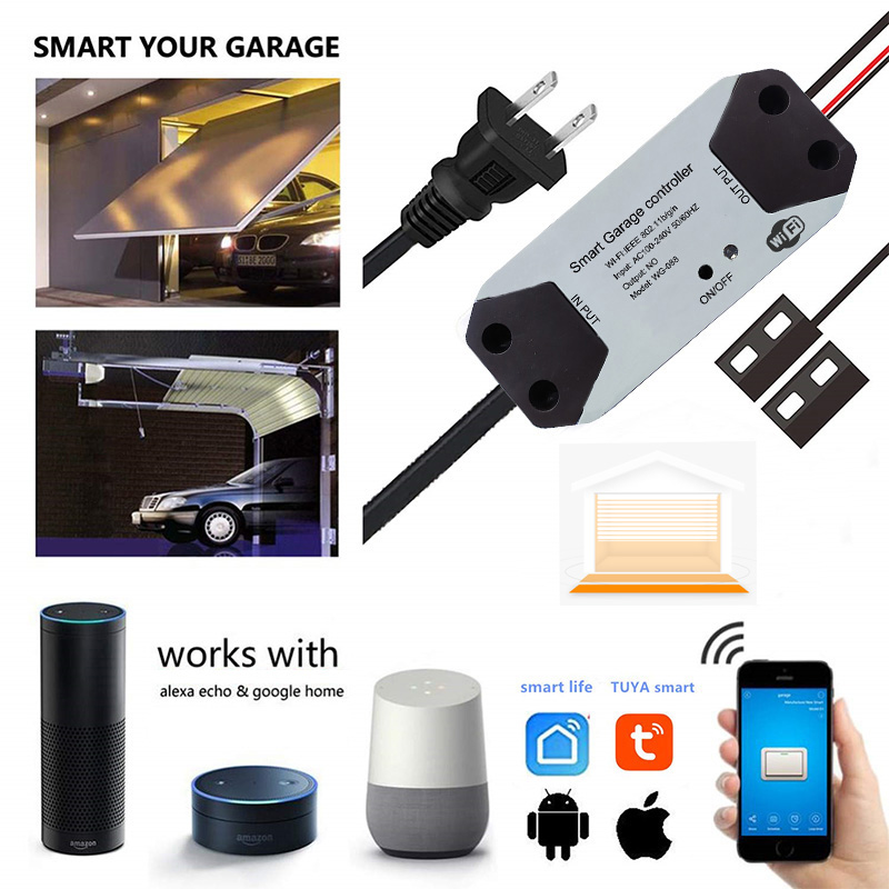 SmartYIBA Tuya APP WIFI <font><b>Remote</b></font> <font><b>Garage</b></font> <font><b>Door</b></font> Access with Alexa Google Home Smart Life Voice Control Switch Controller <font><b>Door</b></font> <font><b>Opener</b></font> image