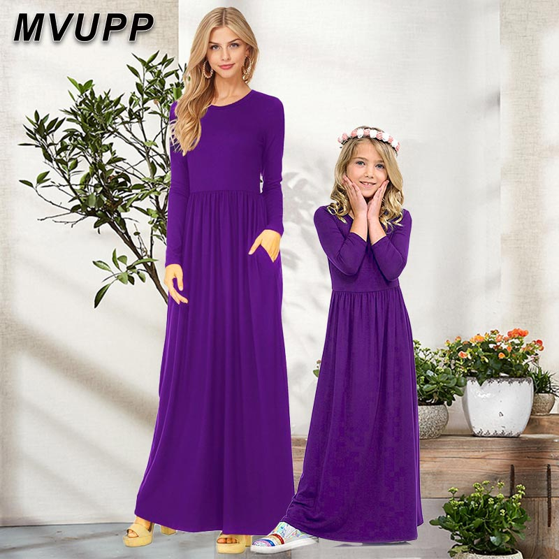 MVUPP Mother Daughter Dresses Family Matching Clothes Mommy And Me Outfits Long Sleeve Sliod Mum Mom Baby Girl Look Winter Dress