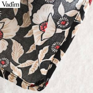 Image 5 - Vadim women chic floral pattern mini dress ruffles long bell sleeve straight female causal fashion dresses vestidos QD081