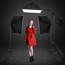 Photography Studio Softbox Lighting Kit with 3 X 5500K Bulbs Arm Holder Photo Video Continuous Soft Box Lighting Set for YouTube Filming Portrait Shooting 50 70cm continuous lighting softbox 4 lamp holder cross bar double pulley horizontal arm photography kit 45w 5500k bulbs 4pcs
