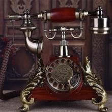 Europejski antyczny obrotowy Dail stały telefon amerykański Retro biurowy dom z litego drewna dotykowy telefon stacjonarny Dail tanie tanio CN (pochodzenie) Przewodowe Telefony