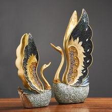 Une paire de sculptures de cygne doré, ornements de meuble TV de salon, cadeau de mariage pour amis amoureux, accessoires de décoration pour la maison