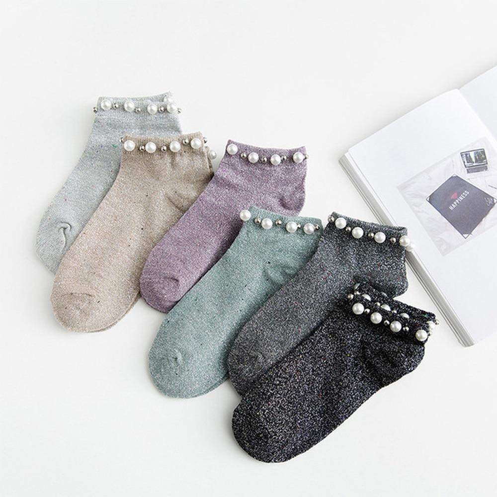 1 Pair Short Socks Women Pearl Socks Silver Onion Flash Color Ladies Cute Socks Low To Help Retro Streetwear Korean Style
