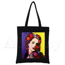Lana Del Rey nuove borse femminili borsa di tela di vendita calda borsa di tela borsa a tracolla Casual da donna borsa nera riutilizzabile