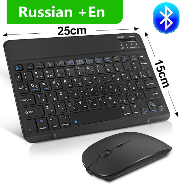 Mini Wireless Keyboard Bluetooth Keyboard And Mouse Keycaps Russian Bluetooth Keyboard Rechargeable For ipad Phone Tablet Laptop 1