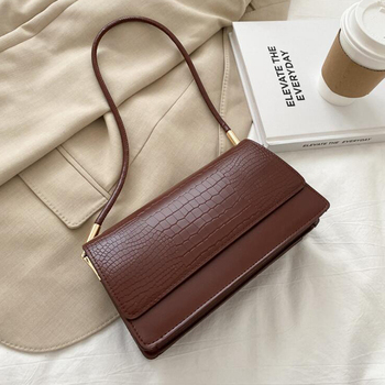 Alligator Pattern Baguette Bags for Women 2020 New Luxury Handbags Designer Shoulder Bag Fashion PU Leather Female Underarm Bag - Dark Brown, 24x13x8cm