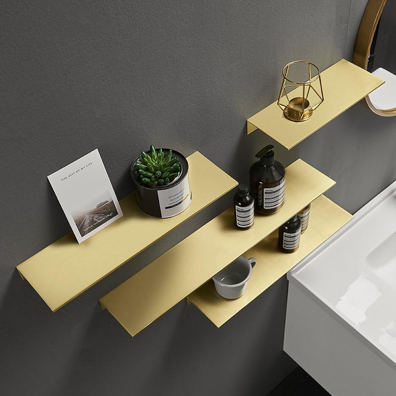 Metal Cosmetic Frame Nordic Bathroom Storage Rack Gold Brushed Corner Shelf 60cm Bathroom Shelf  Wallmount For Aluminum Finish
