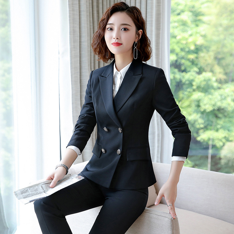High Quality Temperament Fashion Ladies Suit 2019 Autumn New Double-breasted Slim Large Size Jacket Female Casual Pants Suit