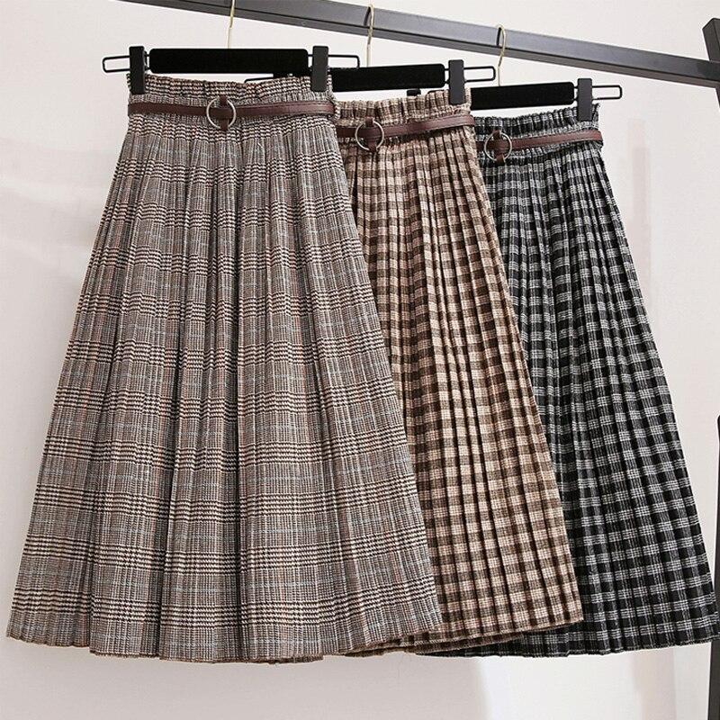 Casual Plaid Print Midi Skirt Women Autumn Winter Elastic Hight Waist Plus Size Elegant A Line Big Swing Pleated Skirt With Belt