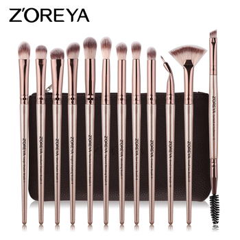 ZOREYA 12pcs Eye Makeup Brushes Set Soft Synthetic Hair EyeShadow Eyeliner Lipstick Nail Cosmetics Tools