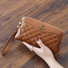 Head Leather New Lady Leather European and American Bee Big Money Bit Hand Bag Long Wallet Ladies Hand Bag Clutch Clutch Clutch цена и фото