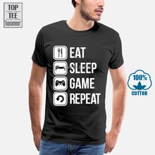 Eat Sleep Game Repeat Couples Lovers T Shirt Casual Lovers M