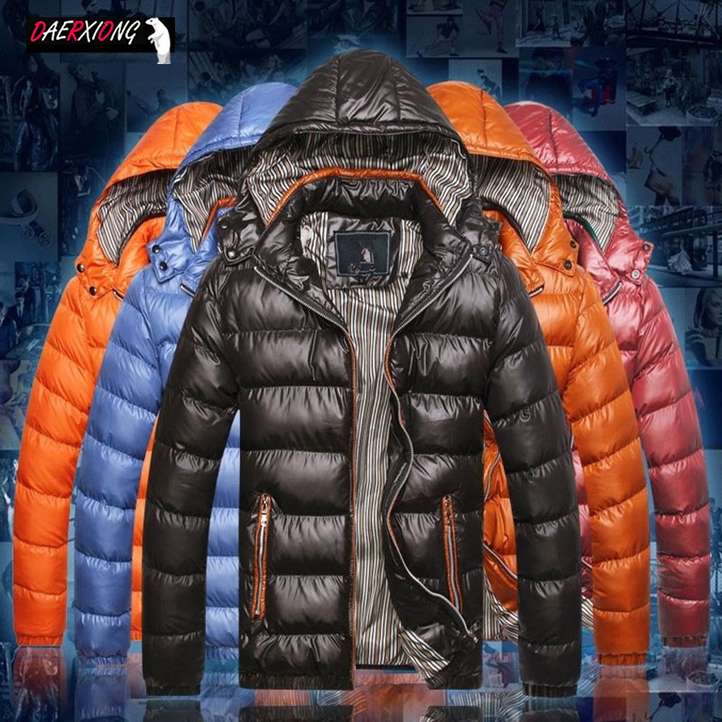 M-7XL New Winter Jacket Men Solid Thick Warm Hooded Down Jacket Coat Mens Collar Windbreaker Feather Parka Brand Large Size