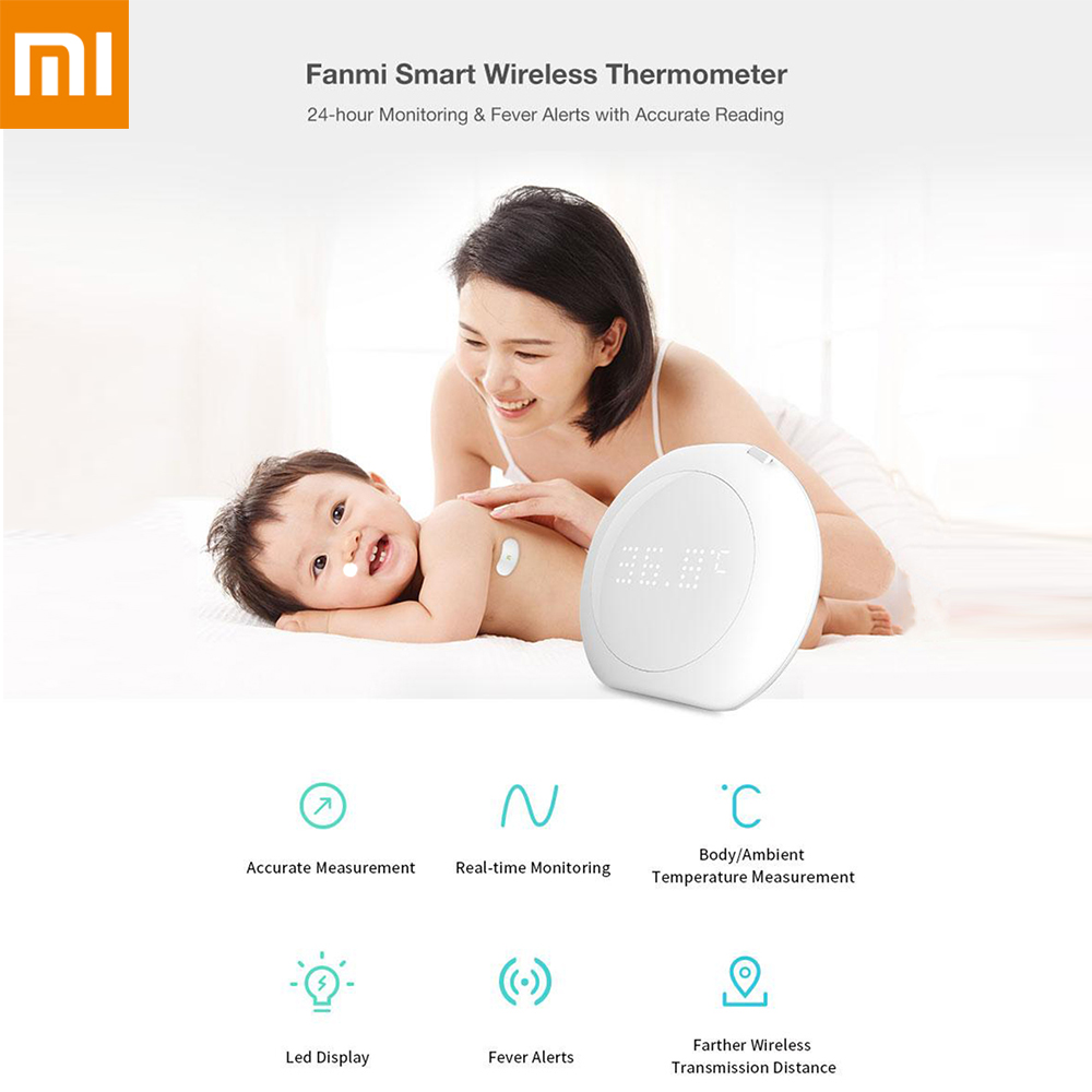 Xiaomi Thermometers 24 Hour Intelligent Baby Fever Monitor With Wireless Alerts Wearable Smart Thermometer For Infant Toddlers