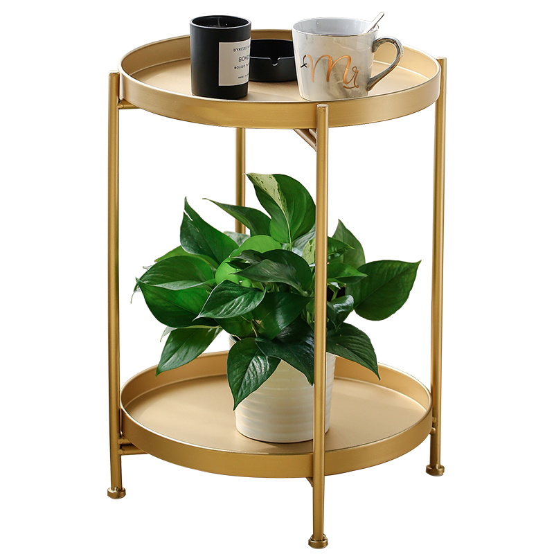 Nordic Simple Double Layer Small Coffee Table Living Room Sofa Bedroom Bedside Wrought Iron Round Table Storage Rack Mx7111618