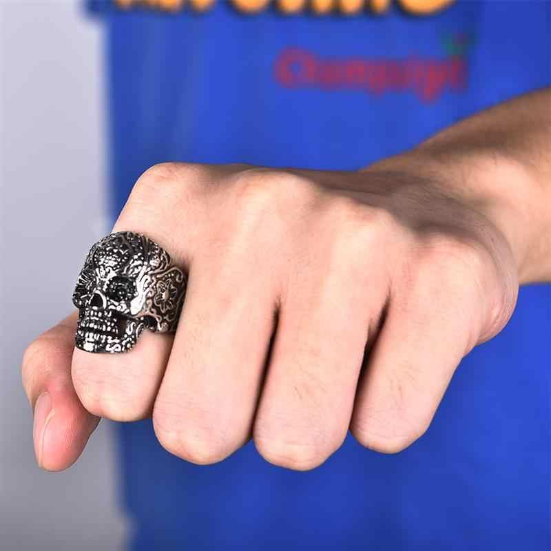 Jiayiqi ใหม่ Gothic Mens แหวน Punk รถจักรยานยนต์ Biker สแตนเลสสตีลดอกไม้ Skull Skeleton Finger แหวนเครื่องประดับอินเทรนด์ของขวัญ