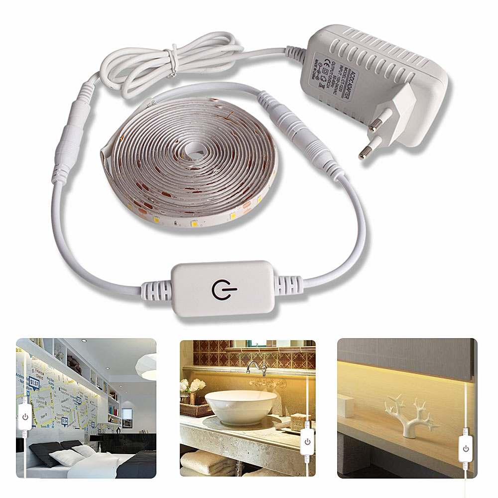 5M LED light Strip Waterproof 2835 Ribbon LED Strip Dimmable Touch Sensor Switch 12V Power Supply For Under Cabinet Kitchen Lamp