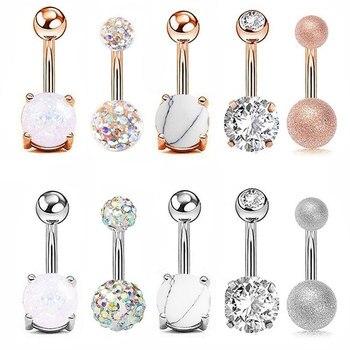 Las mujeres ombligo de oro rosa de diamantes de imitación de plata Sexy vientre anillo Piercing ombligo joyería del Cuerpo Médico de acero