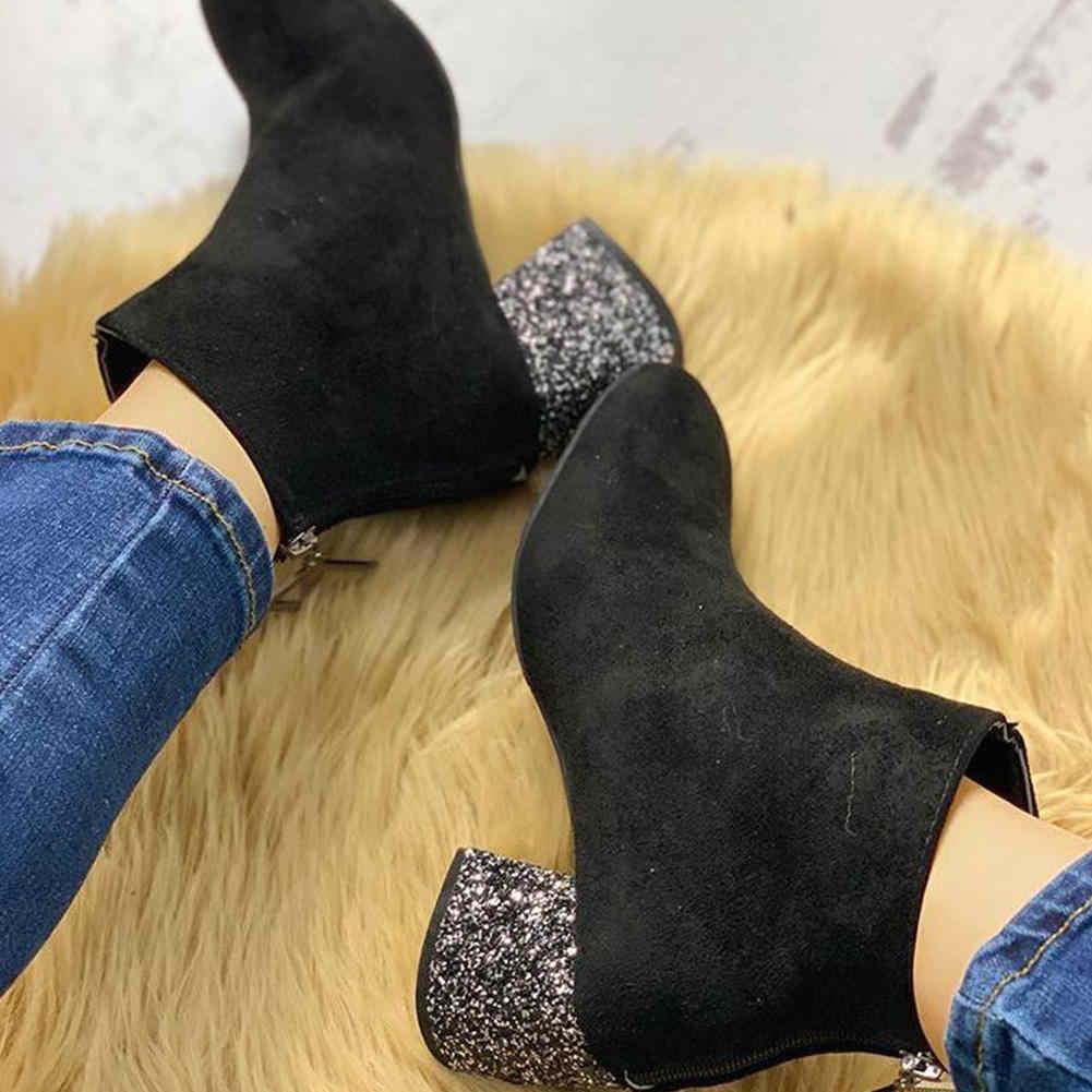Karinluna 2019 Klasik zarif yarım çizmeler Kadın Ayakkabı parlak Tıknaz Topuklu Kadın ofis bayan tarihi Çizmeler kadın ayakkabısı Patik