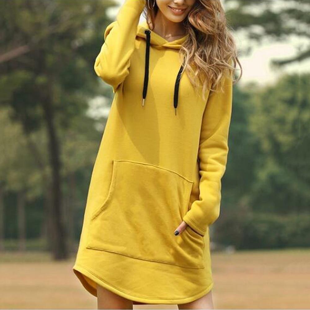 WENYUJH Vintage Women Winter Dress Hooded Long Sleeve Loose Casual 3XL Plus Size Dress Retro Ladies Pocket Tube Midi Dresses