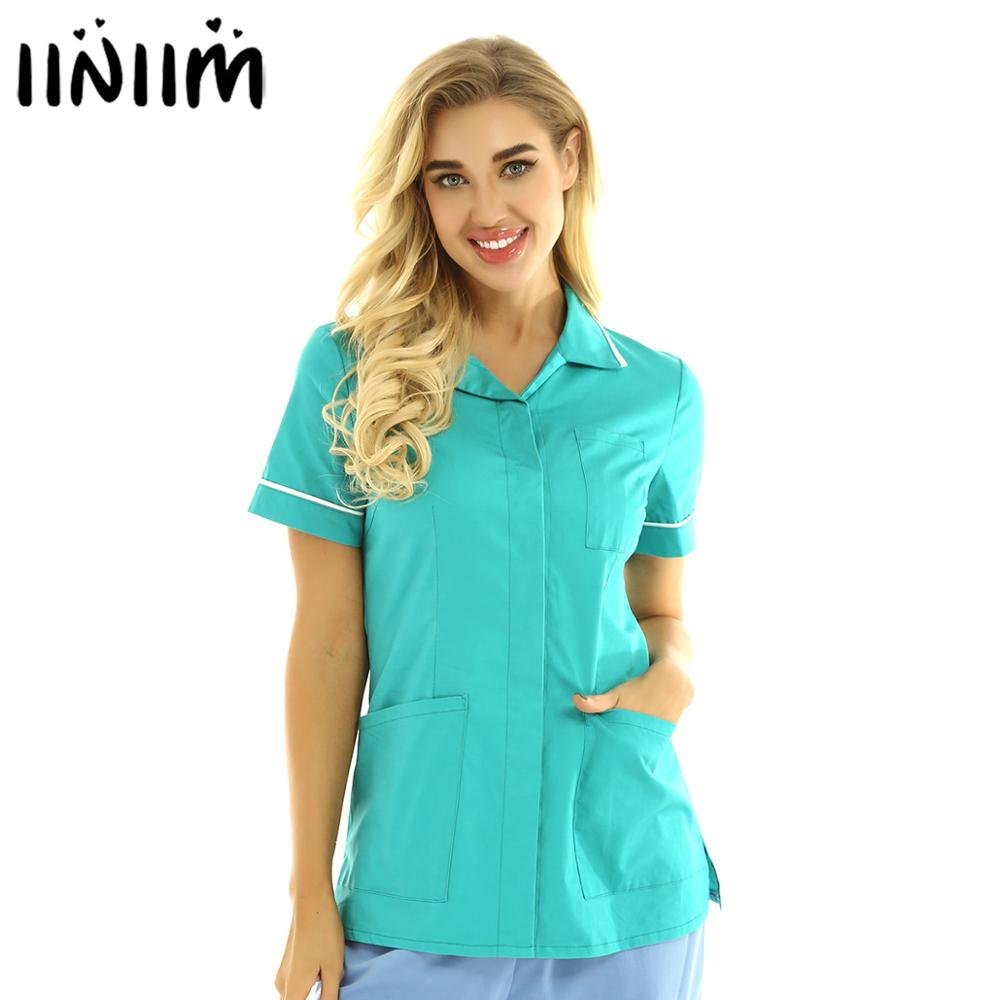 Womens Healthcare Tunic Turn-down Hospitality Maid Nurses Cares Therapist Dentist Workwear Uniform Tops ICU Medical Costumes