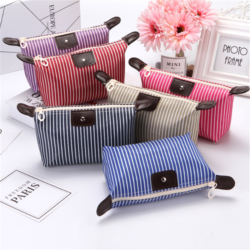 Vogvigo Strip Travel Cosmetic Bag Casual Zipper Make Up Makeup Case Organizer Storage Pouch Toiletry Beauty Wash Kit Bags