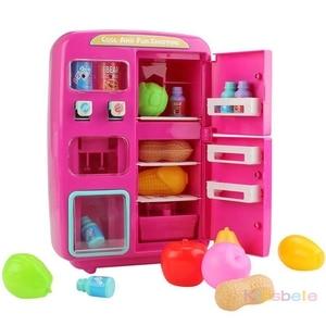 Image 3 - 어린이 척 놀이 장난감 시뮬레이션 더블 냉장고 자동 판매기 완구 어린이 주방 음식 장난감 미니 놀이 집 소녀 완구