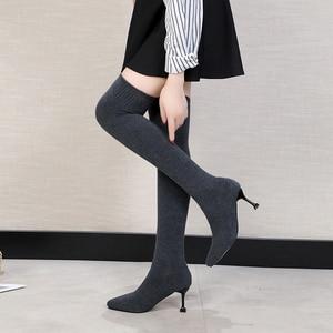Image 3 - Sexy Vrouwen Over De Knie Laarzen Sok Warm Hoge Hak Schoenen Stretch Breien Dunne Hak Fashion 2019 Winter Vrouwen Wees teen Laarzen