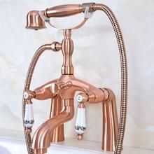 цена на Deck Mount Claw-foot Bathtub Faucet Tub Filler Handheld Shower Antique Red Copper Brass Dual Ceramic Handles ana167