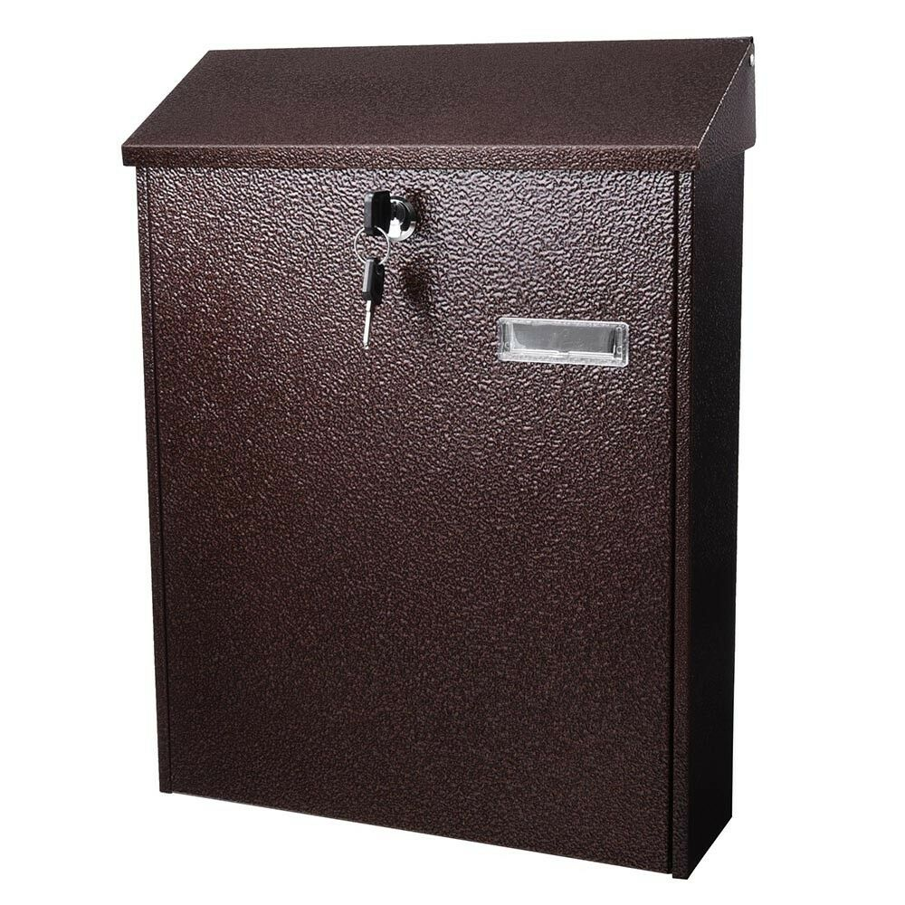 Large Wall Mount Steel Mail Box Lockable Letterbox W/Door & 2 Keys Home Security