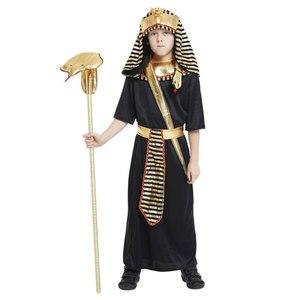 Kids Kind Egypte Egyptische Farao Cosplay Kostuum Voor Jongens Halloween Purim Carnaval Party Mardi Gras Outfit Disfraces(China)