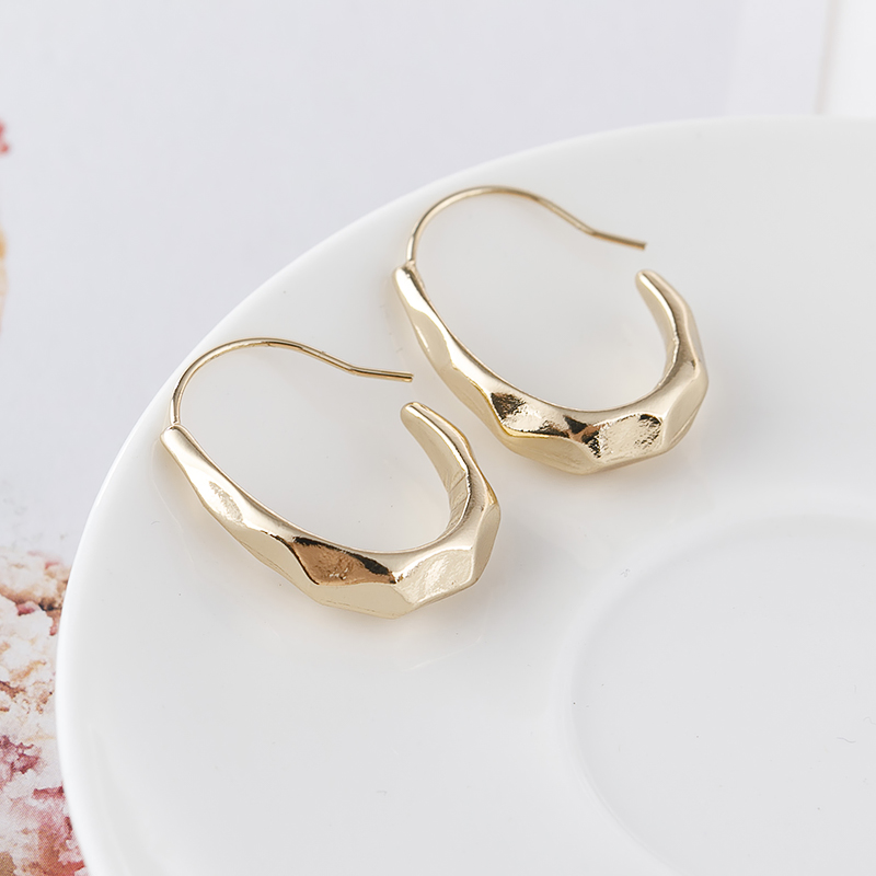 Personality irregular eardrop French big ear ring small wind earrings metal cold wind earrings
