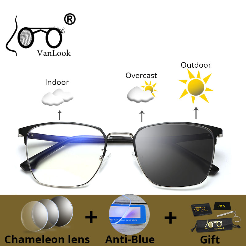 Anti Blue Ray Light Blocking UV400 Computer Glasses Gamer Photochromic Sunglasses For Men Women Chameleon Lens Eyeglasses Frame