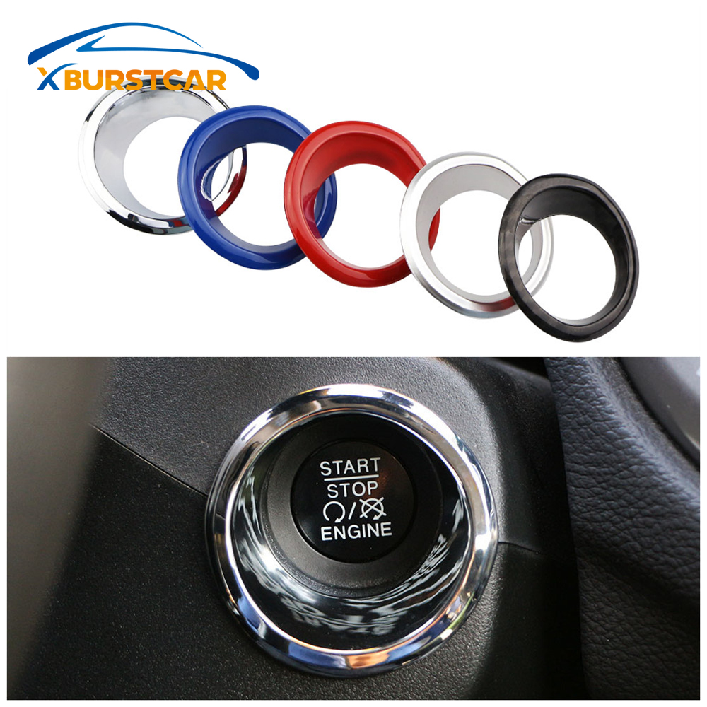 Xburstcar For Jeep Compass 2017-2019 Renegade 2015-2019 Car Ignition Key Switch Decoration Ring Circle Trim Stickers Accessories