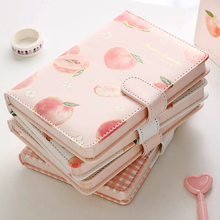 Cute Mini Peach Design A6 Magnetic Closure Planner Notebook Leather Blank Diary Colorful Journal Girl Student Stationery Supply