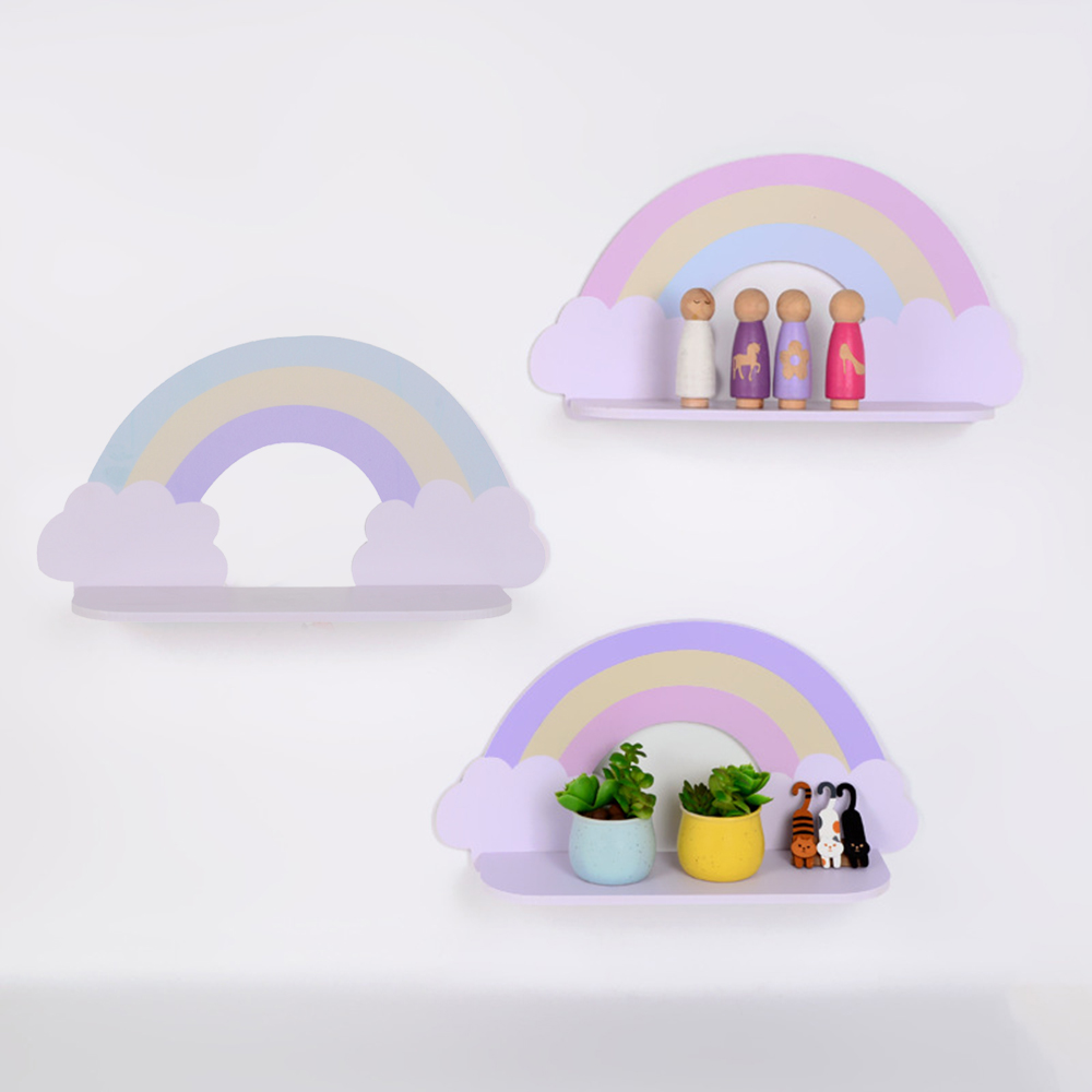 Ins Cartoon Cloud Wooden Wall Shelf For Children Bedroom Baby Nursery Home Decoration Cute Room Wall Shelves Storage For Kids 5