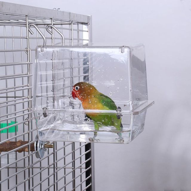 Double Hook Hanging Upgraded Bird Bath Cage Adjustable Large with Clear View Pet