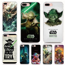 Tempered Glass Case For iPhone 11 Pro XS Max 7 8 Plus 6 6S Plus 5S 5 Back Cover Print Star wars Yoda Phone Case(China)