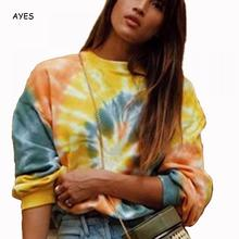 Tie Dyeing Hoodies 2019 Autumn Long Sleeve Yellow Sweatshirt Women Loose Streetwear Fashion Female Dye Pullover
