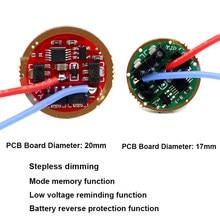 Circuit imprimé pour lampe de poche T6 L2 U2 XPL SST20 SST40, 20mm 17mm 7135x6 AMC 7135*6, mémoire de Mode