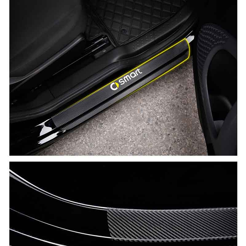Image 3 - Car Sticker Car Accessories Carbon Fiber Door Sill Scuff Plate Guards Sills for Mercedes Benz Smart Fortwo Forfour Forjeremy-in Car Stickers from Automobiles & Motorcycles