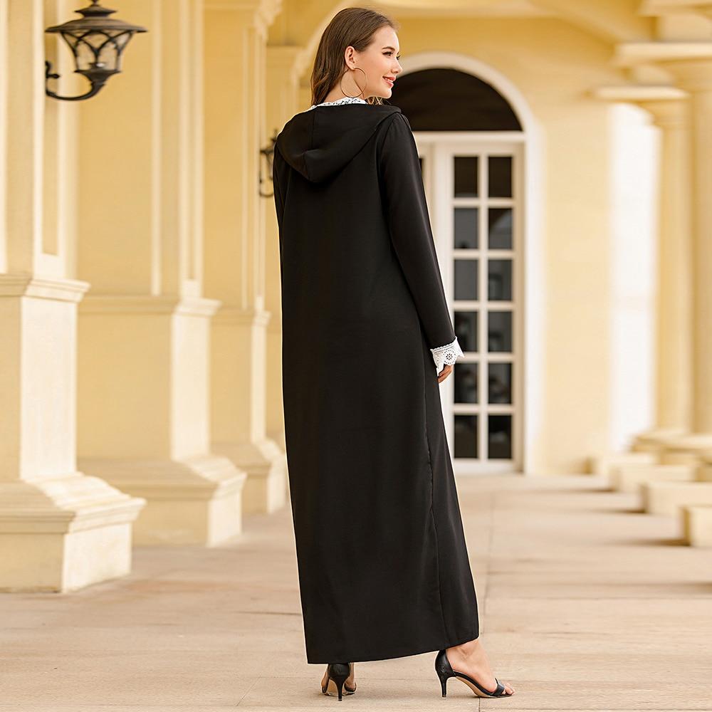 Eid Mubarak長袍Musulman De Mode摩洛哥Kaftan Abaya迪拜土耳其蓋頭穆斯林連衣裙伊斯蘭服裝Abayas對於婦女Caftan婦女婦女Abaya婦女的服裝cb5feb1b7314637725a2e7:黑色